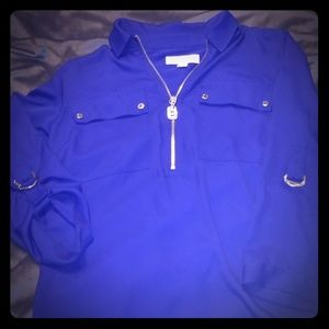 Royal Blue MK zip up blouse w/ toggle strap sleeve